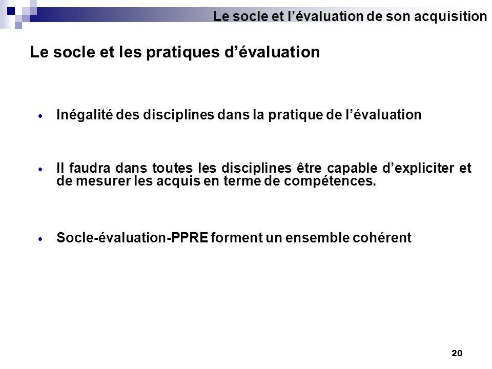 Le socle et les pratiques d'évaluation