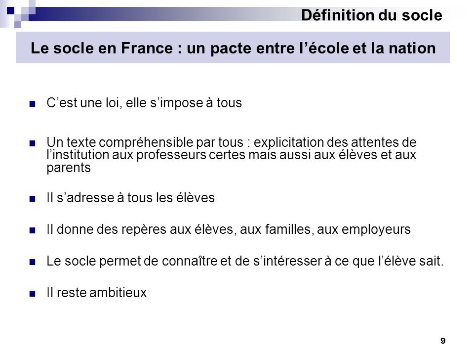 Le socle en France : un pacte entre l'école et la nation