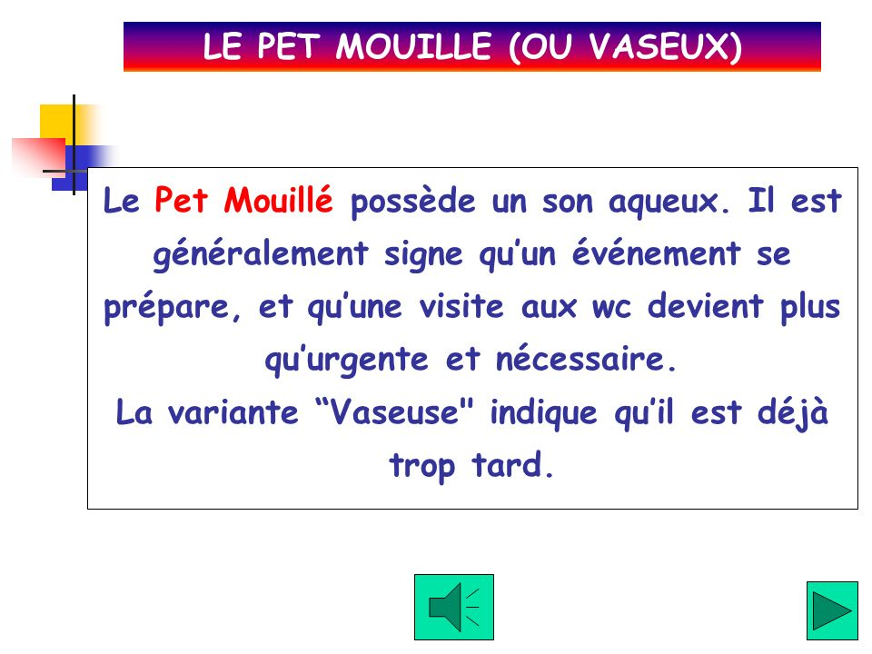 LE PET MOUILLE (OU VASEUX)