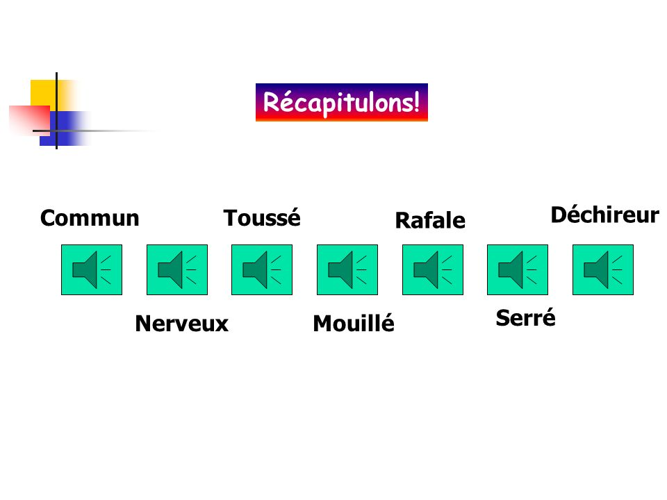 Récapitulons! Commun Toussé Déchireur Rafale Serré Nerveux Mouillé