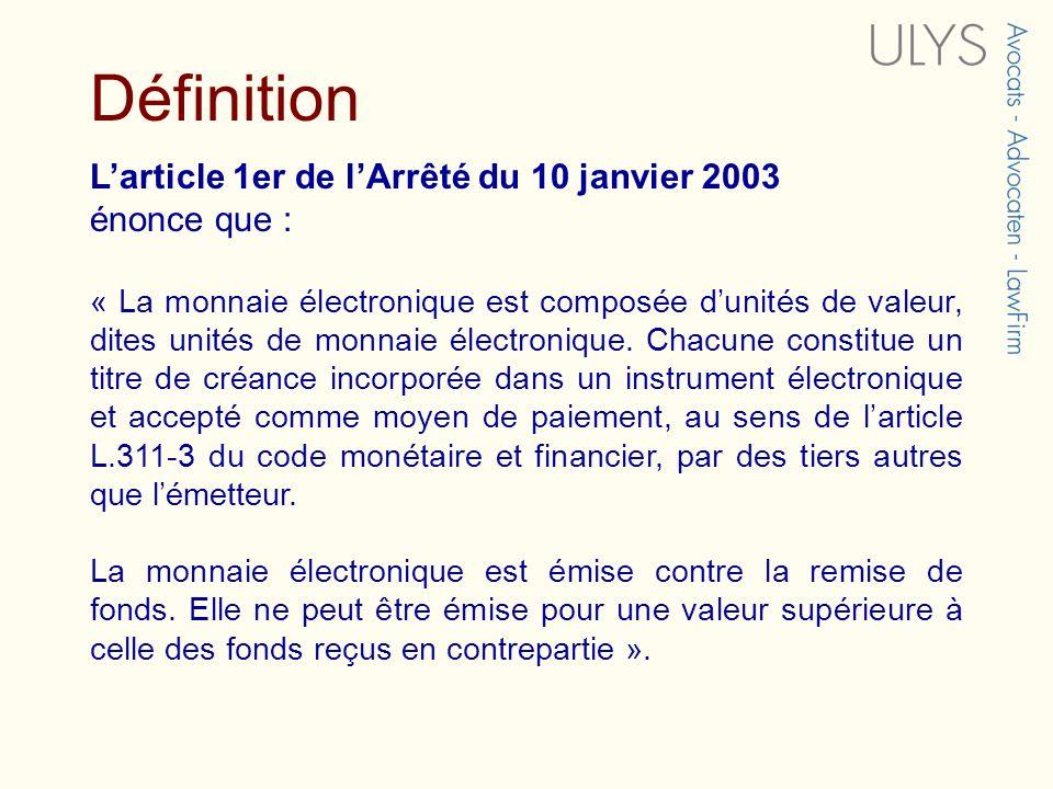Définition L'article 1er de l'Arrêté du 10 janvier 2003 énonce que :