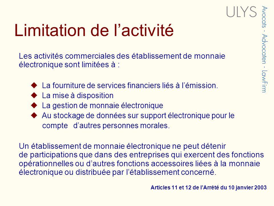 Limitation de l'activité