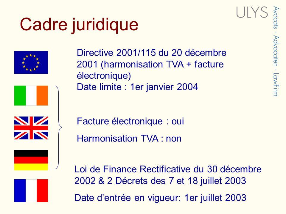Cadre juridique Directive 2001/115 du 20 décembre 2001 (harmonisation TVA + facture électronique) Date limite : 1er janvier 2004.
