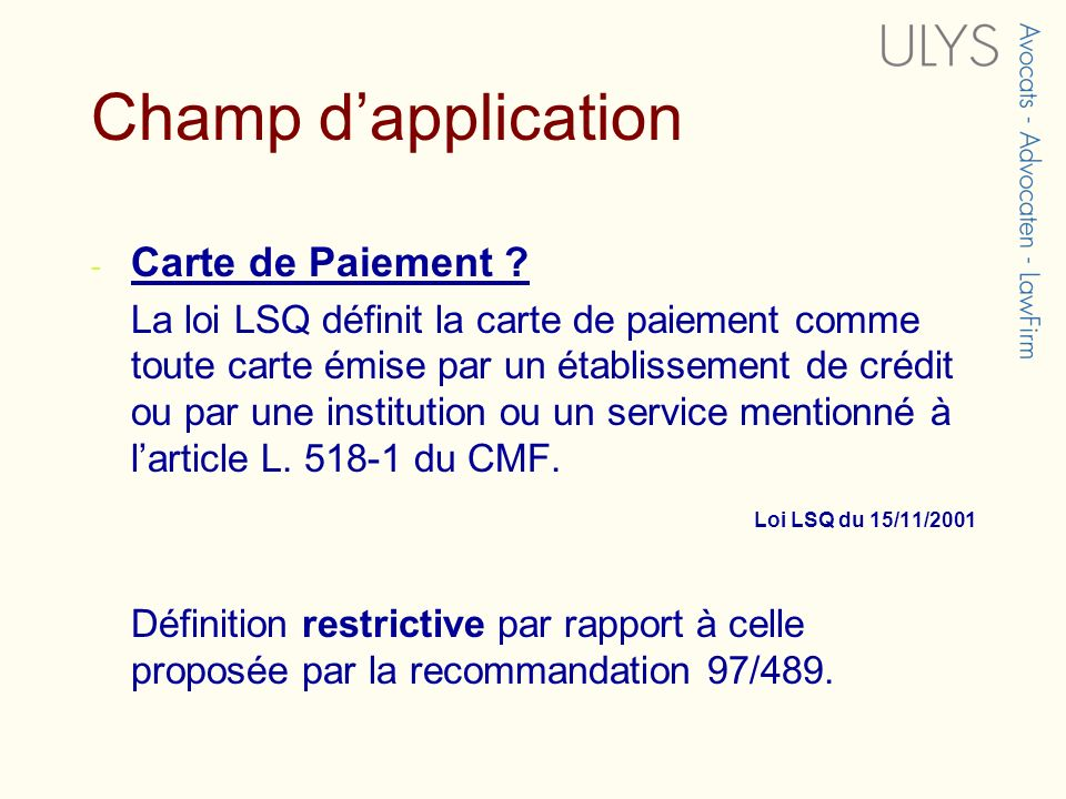 Champ d'application Carte de Paiement