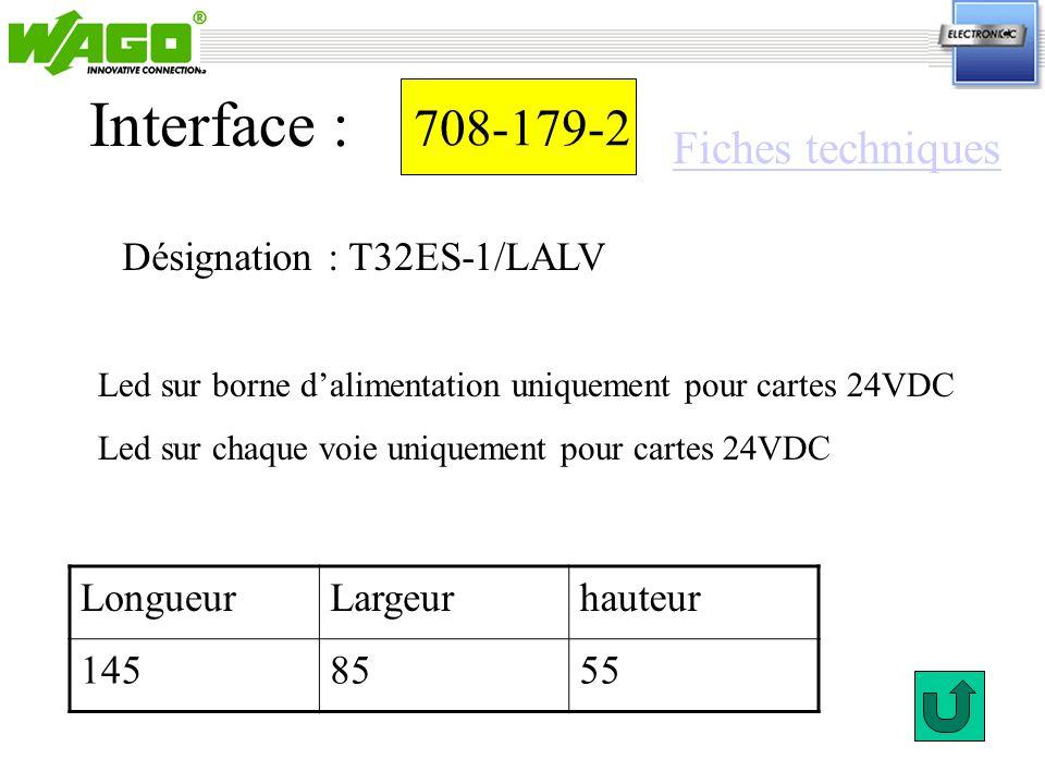 Interface : 708-179-2 Fiches techniques Désignation : T32ES-1/LALV