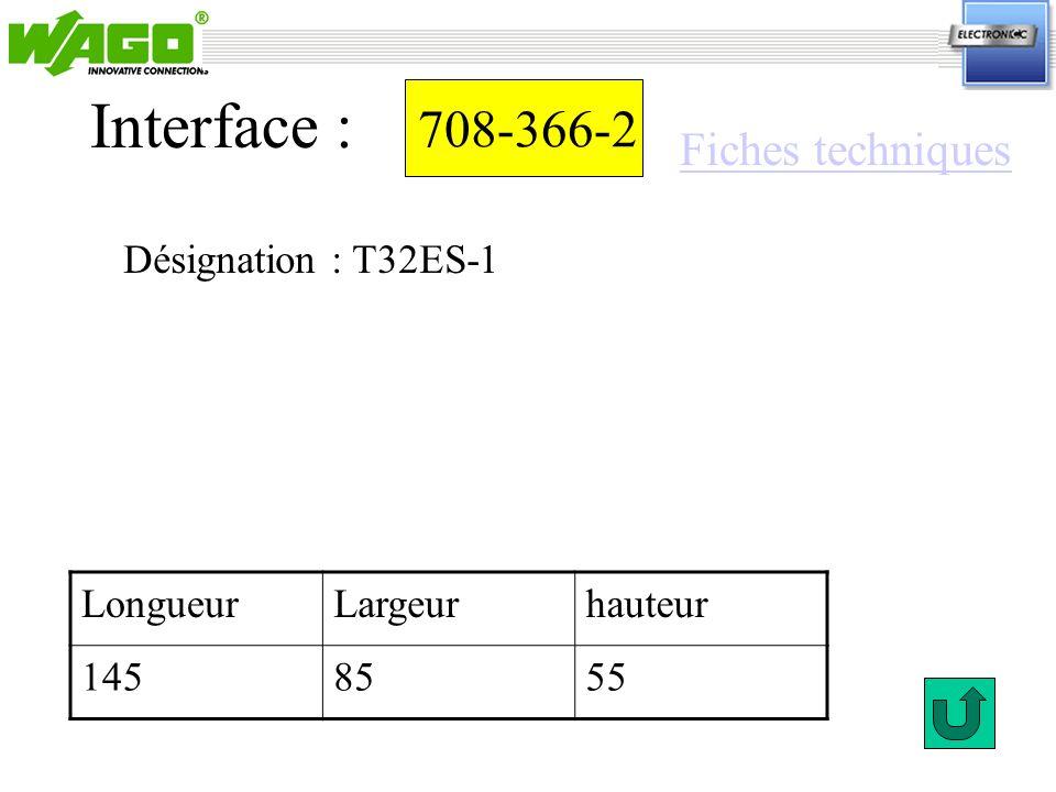 Interface : 708-366-2 Fiches techniques Désignation : T32ES-1 Longueur