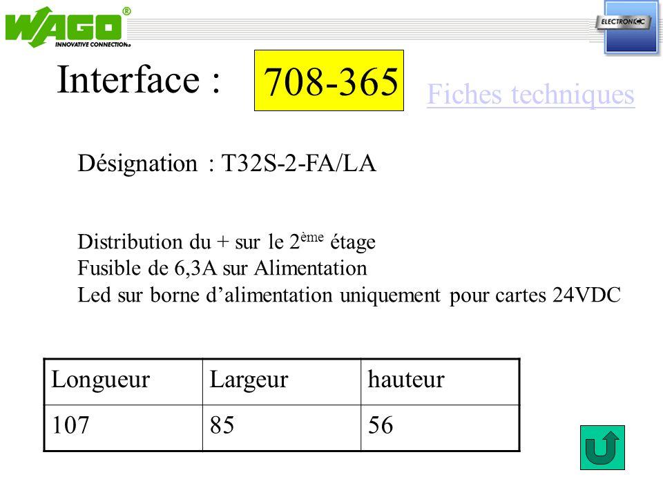 Interface : 708-365 Fiches techniques Désignation : T32S-2-FA/LA