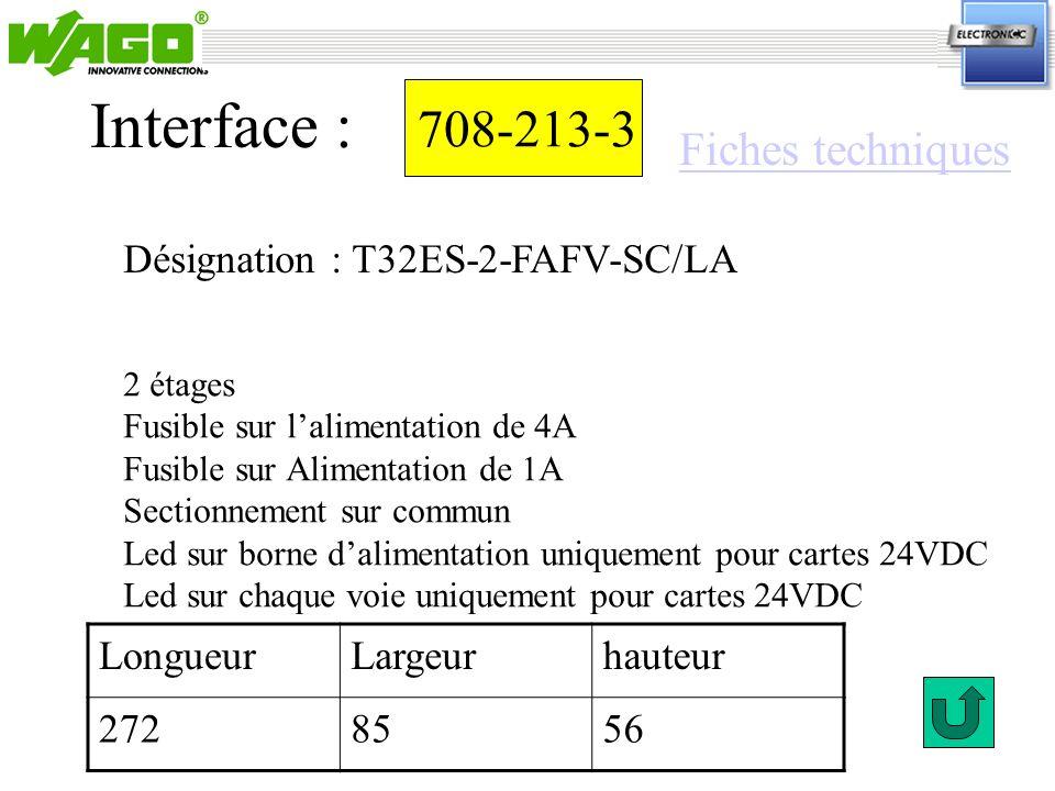 Interface : 708-213-3 Fiches techniques
