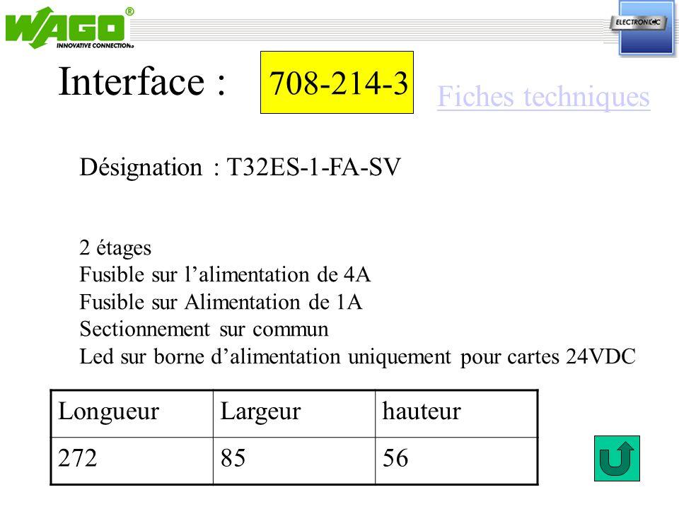 Interface : 708-214-3 Fiches techniques Désignation : T32ES-1-FA-SV