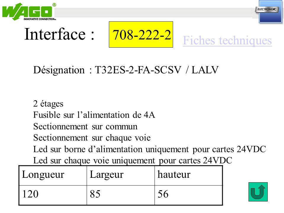 Interface : 708-222-2 Fiches techniques
