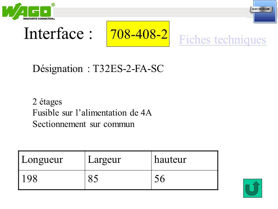 Interface : 708-408-2 Fiches techniques Désignation : T32ES-2-FA-SC