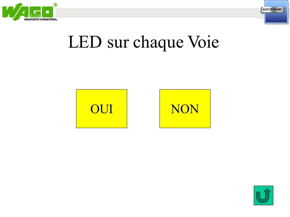 1.3.1.2.2 LED sur chaque Voie OUI NON