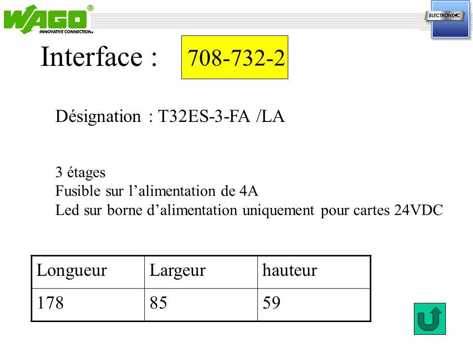 Interface : 708-732-2 Désignation : T32ES-3-FA /LA Longueur Largeur