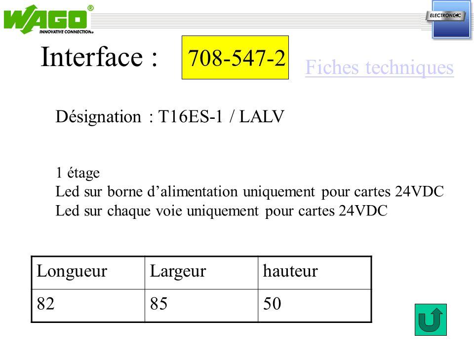 Interface : 708-547-2 Fiches techniques Désignation : T16ES-1 / LALV