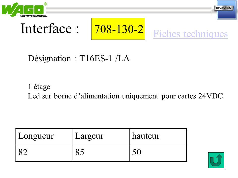 Interface : 708-130-2 Fiches techniques Désignation : T16ES-1 /LA