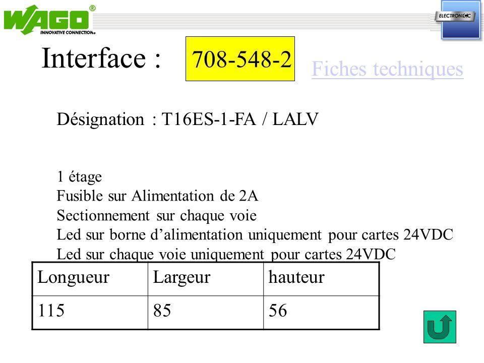Interface : 708-548-2 Fiches techniques