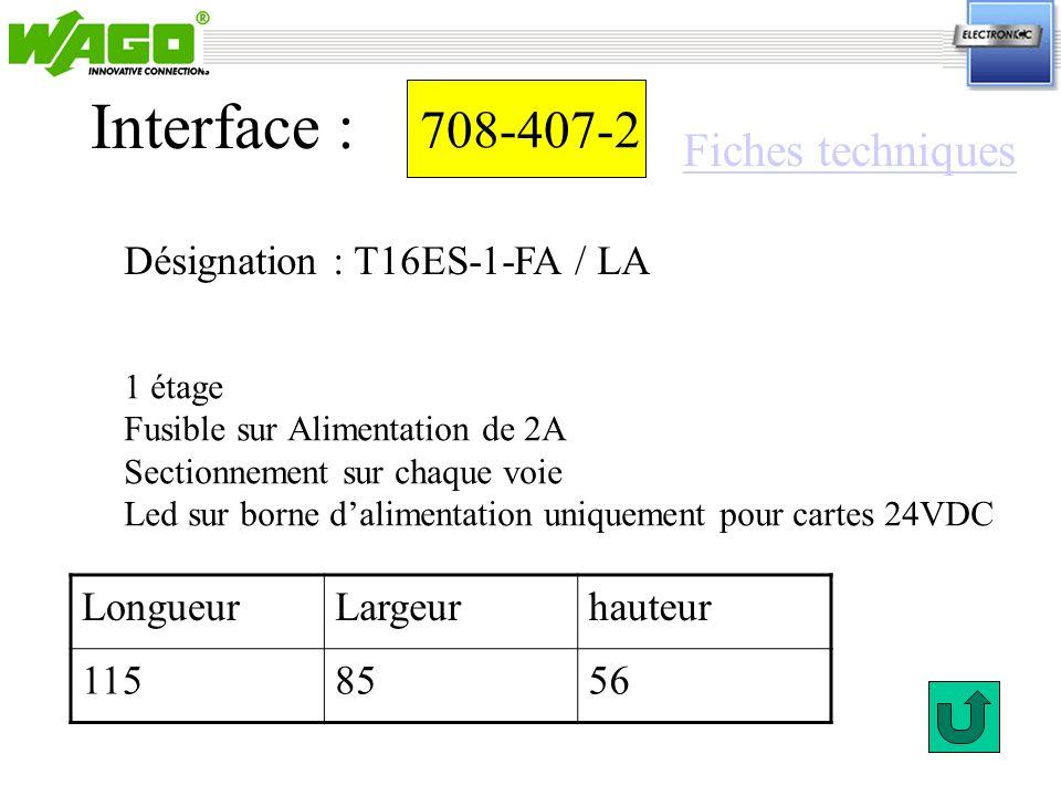 Interface : 708-407-2 Fiches techniques Désignation : T16ES-1-FA / LA