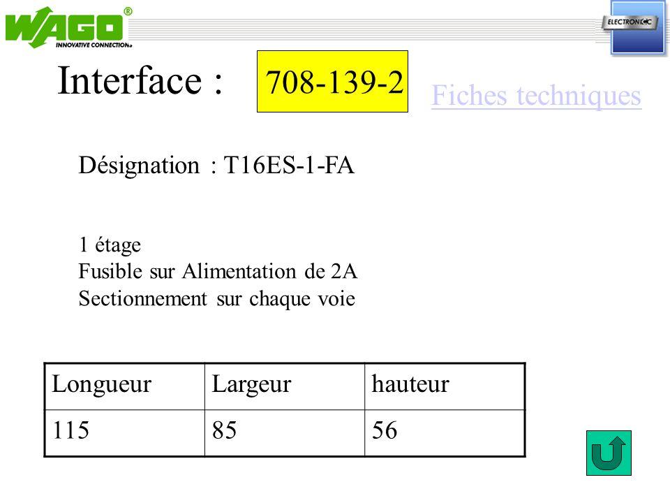 Interface : 708-139-2 Fiches techniques Désignation : T16ES-1-FA
