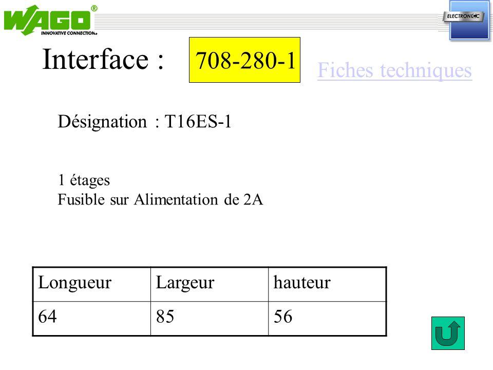 Interface : 708-280-1 Fiches techniques Désignation : T16ES-1 Longueur