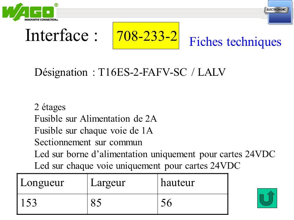 Interface : 708-233-2 Fiches techniques