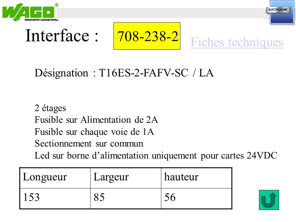 Interface : 708-238-2 Fiches techniques