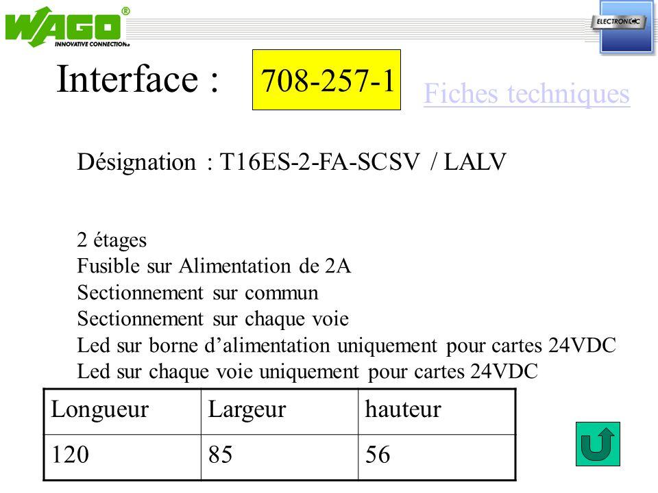 Interface : 708-257-1 Fiches techniques
