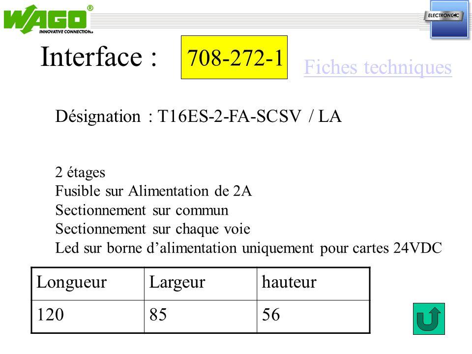 Interface : 708-272-1 Fiches techniques