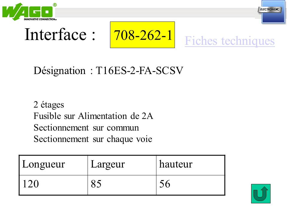 Interface : 708-262-1 Fiches techniques Désignation : T16ES-2-FA-SCSV