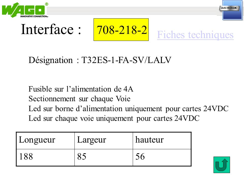 Interface : 708-218-2 Fiches techniques