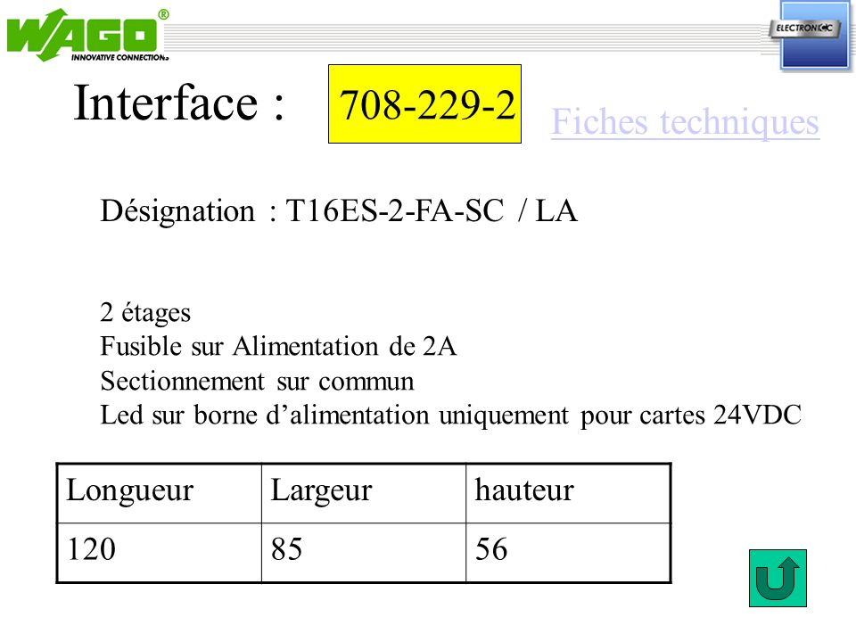 Interface : 708-229-2 Fiches techniques