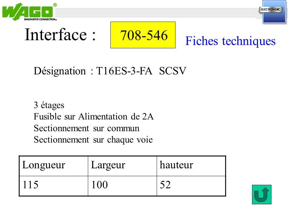 Interface : 708-546 Fiches techniques Désignation : T16ES-3-FA SCSV