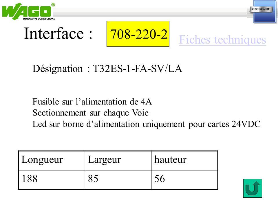 Interface : 708-220-2 Fiches techniques Désignation : T32ES-1-FA-SV/LA