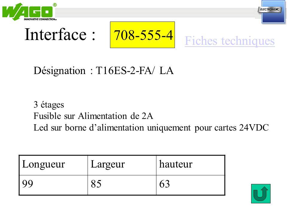 Interface : 708-555-4 Fiches techniques Désignation : T16ES-2-FA/ LA