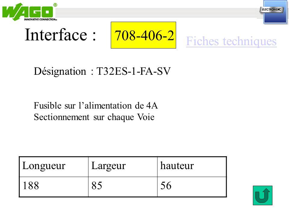 Interface : 708-406-2 Fiches techniques Désignation : T32ES-1-FA-SV