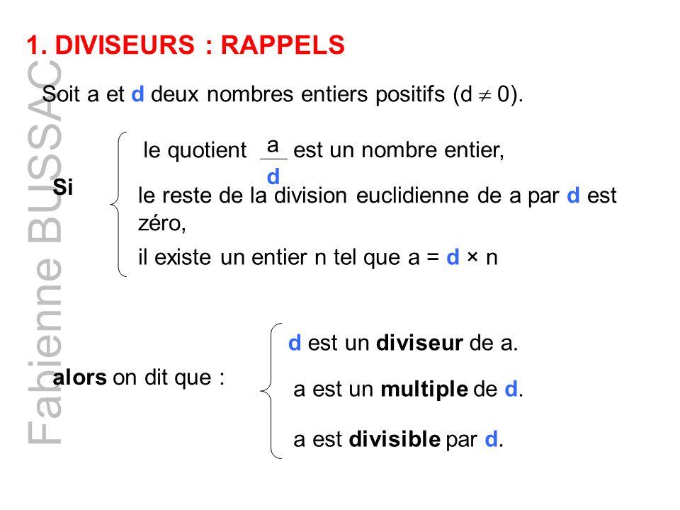 Fabienne BUSSAC DIVISEURS : RAPPELS