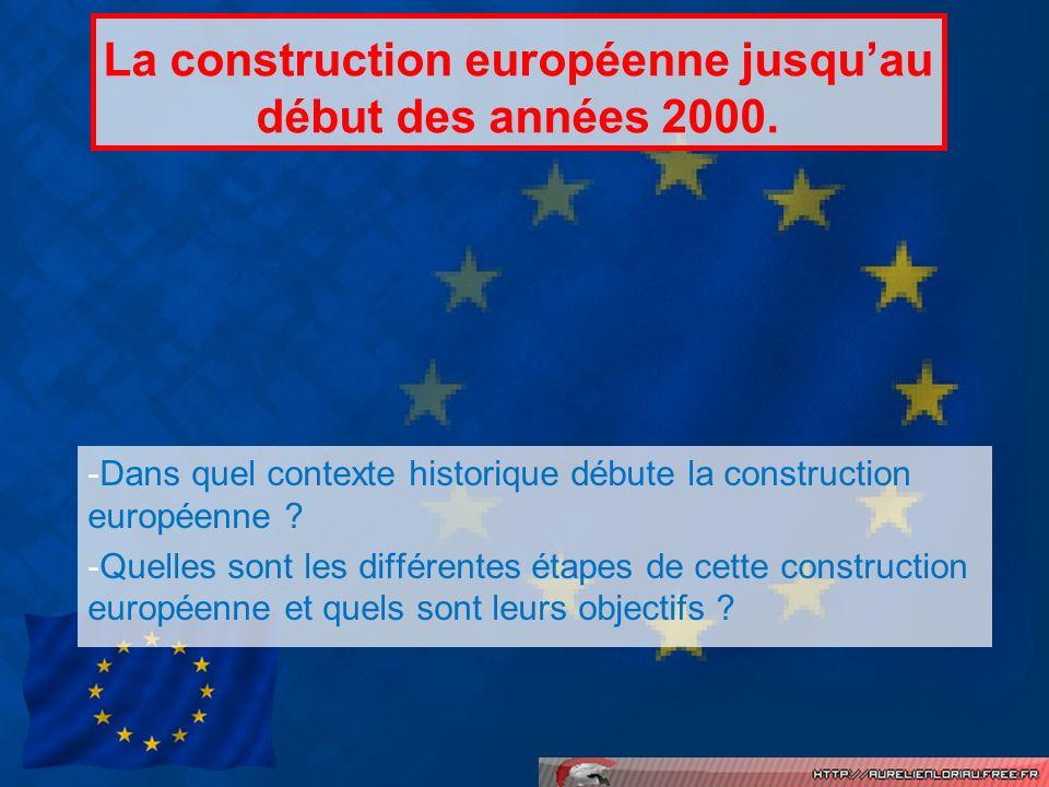 La construction européenne jusqu'au début des années 2000.