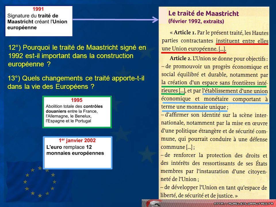 12°) Pourquoi le traité de Maastricht signé en 1992 est-il important dans la construction européenne