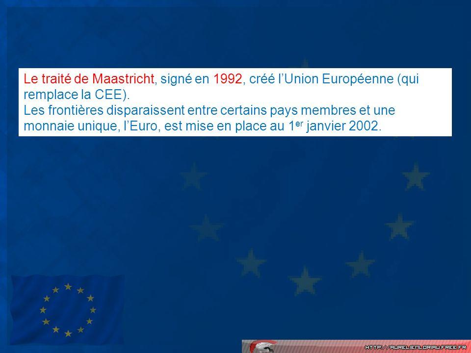 Le traité de Maastricht, signé en 1992, créé l'Union Européenne (qui remplace la CEE).