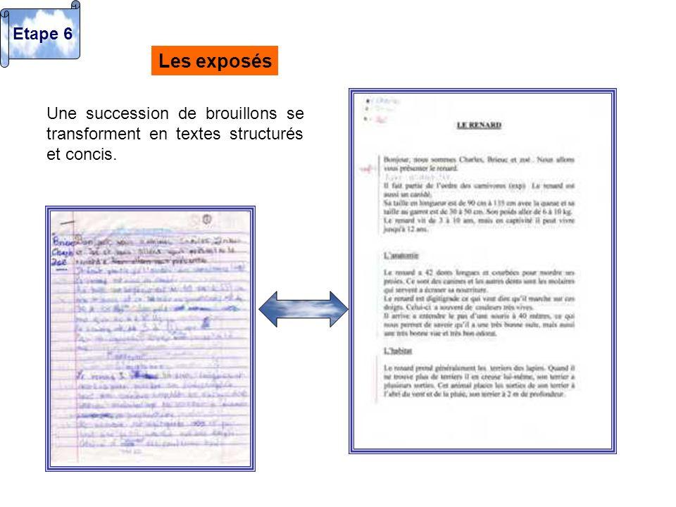 Etape 6 Les exposés Une succession de brouillons se transforment en textes structurés et concis.