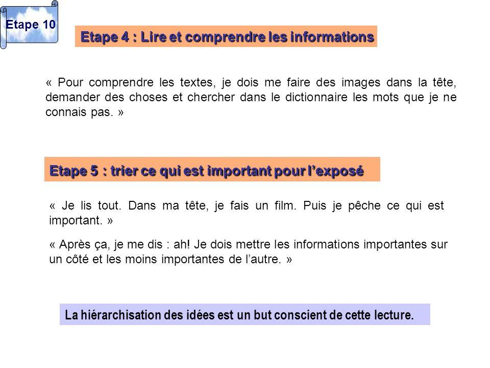 Etape 4 : Lire et comprendre les informations