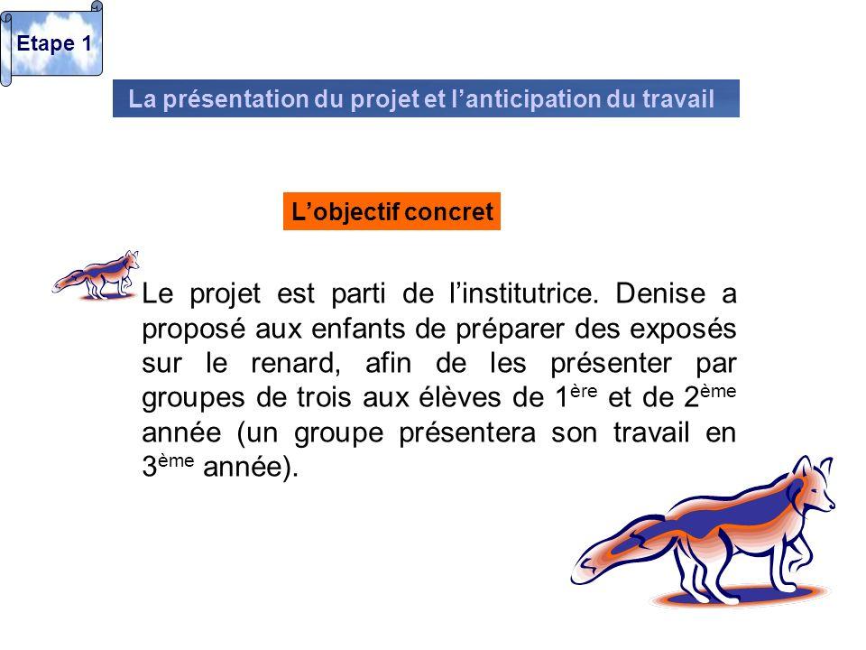Etape 1 La présentation du projet et l'anticipation du travail. L'objectif concret.