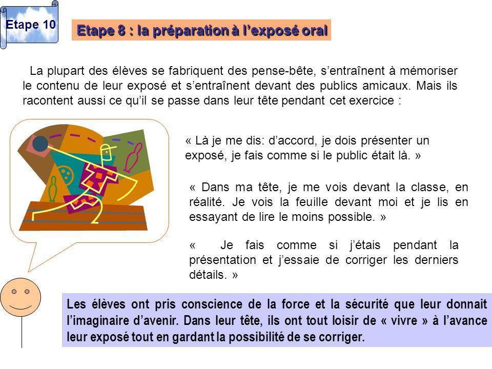 Etape 8 : la préparation à l'exposé oral