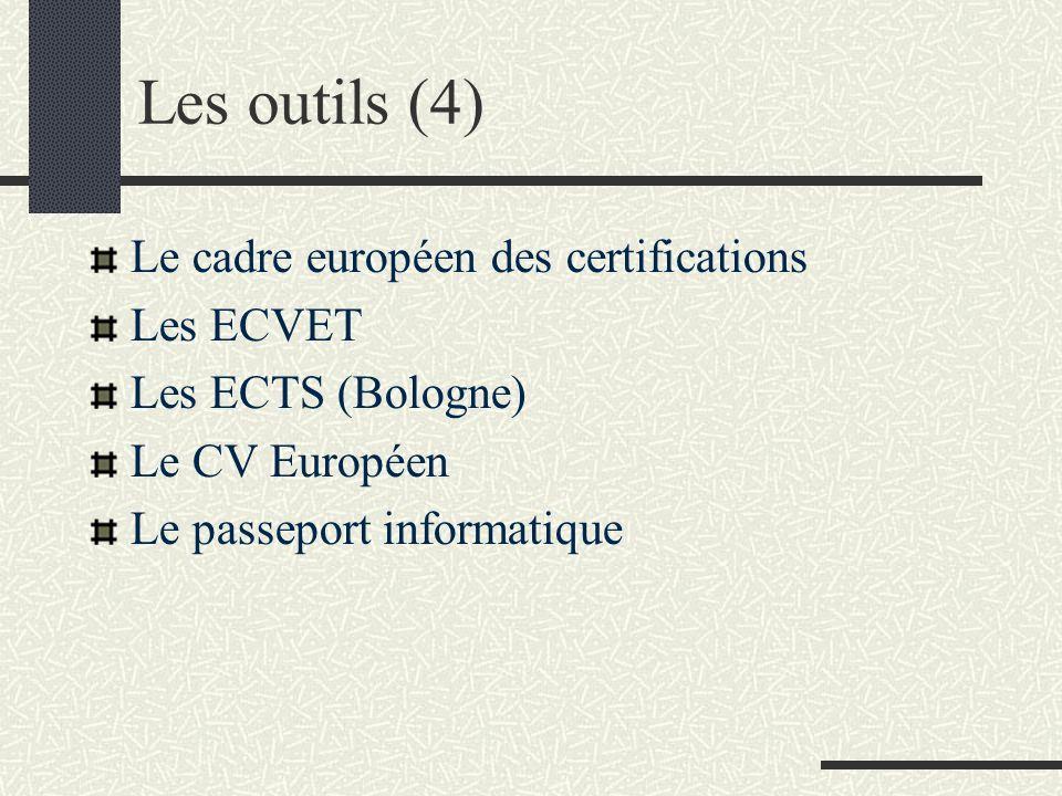 Les outils (4) Le cadre européen des certifications Les ECVET