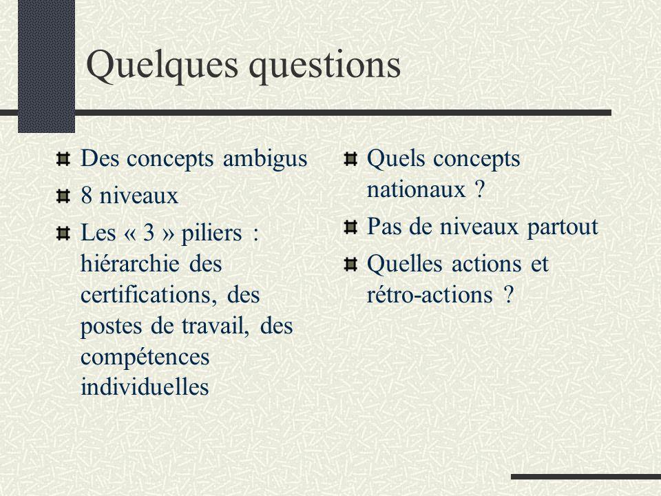 Quelques questions Des concepts ambigus 8 niveaux