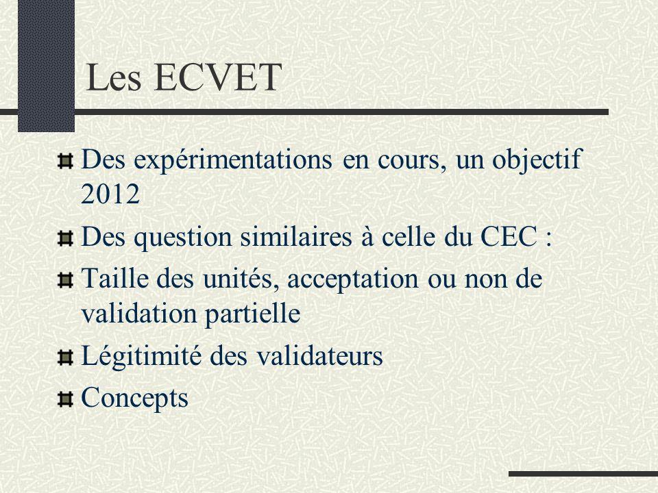 Les ECVET Des expérimentations en cours, un objectif 2012