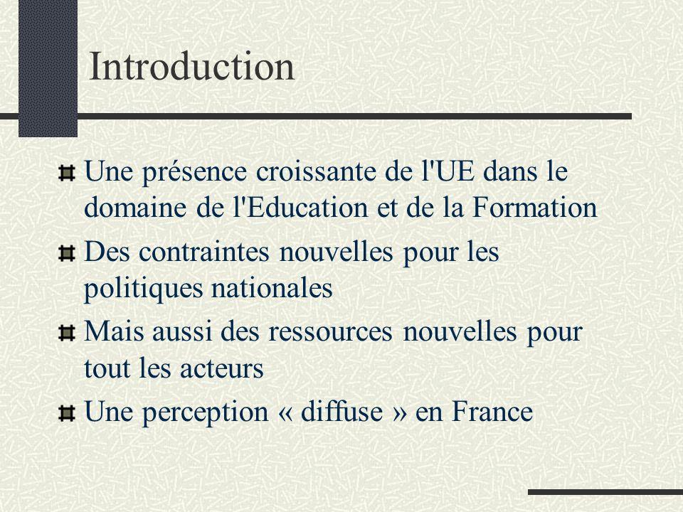 Introduction Une présence croissante de l UE dans le domaine de l Education et de la Formation.