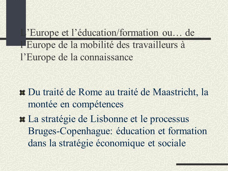 L'Europe et l'éducation/formation ou… de l'Europe de la mobilité des travailleurs à l'Europe de la connaissance