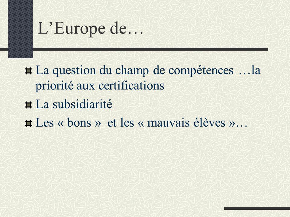 L'Europe de… La question du champ de compétences …la priorité aux certifications. La subsidiarité.