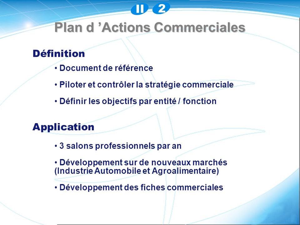 Plan d 'Actions Commerciales