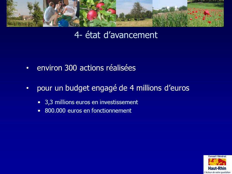 4- état d'avancement environ 300 actions réalisées